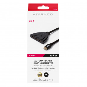 VIVANCO Auto HDMI 3 in 1 Umschalter 0,8m