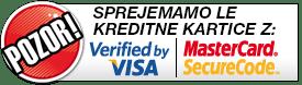 Sprejemamo le kreditne kartice z Verified by Visa, Master Card Secure Code